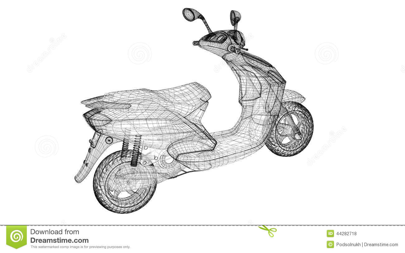 Motorcycle On A Background Stock Illustration
