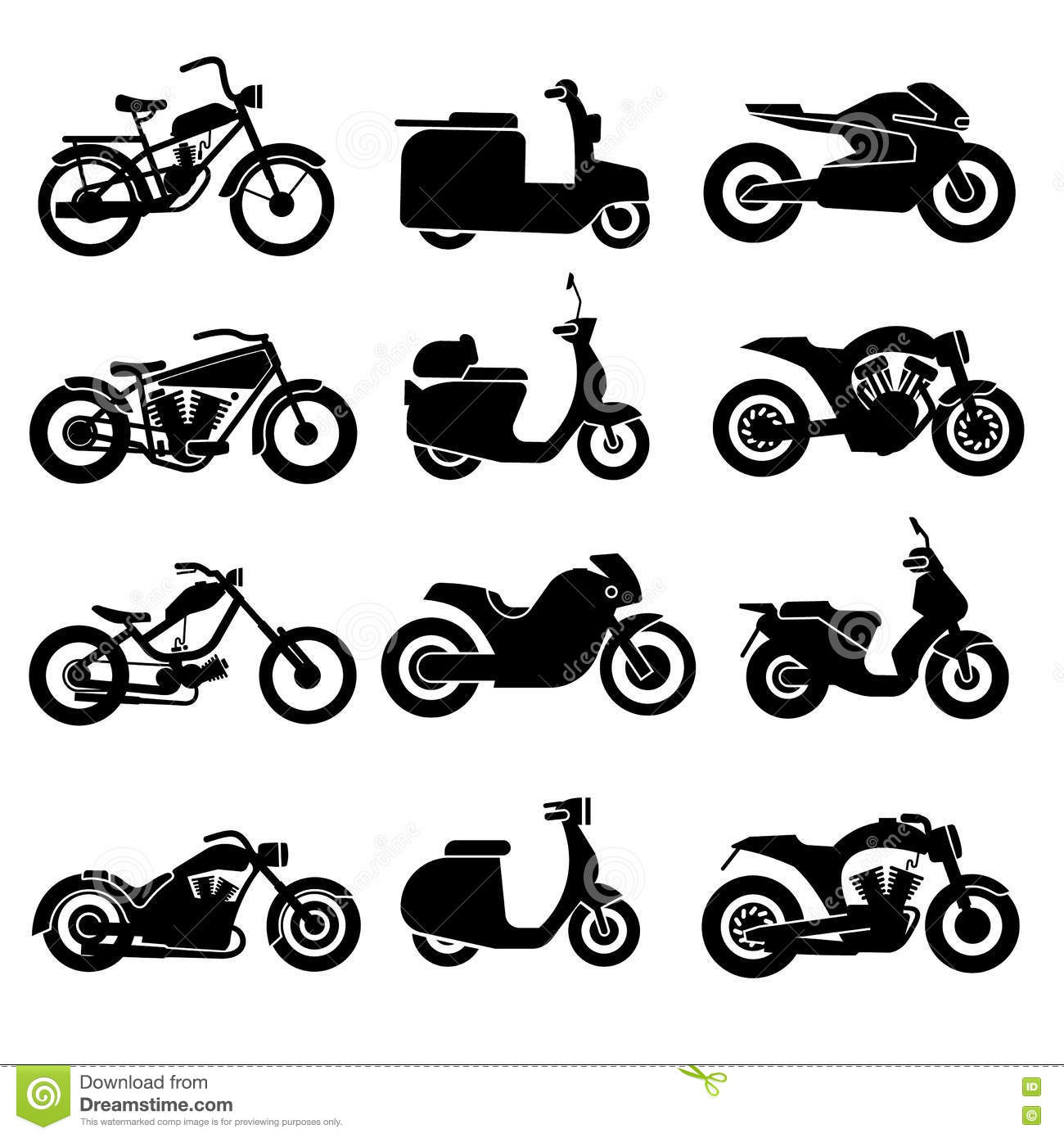 Motorcycle Black Vector Icons Set Stock Vector