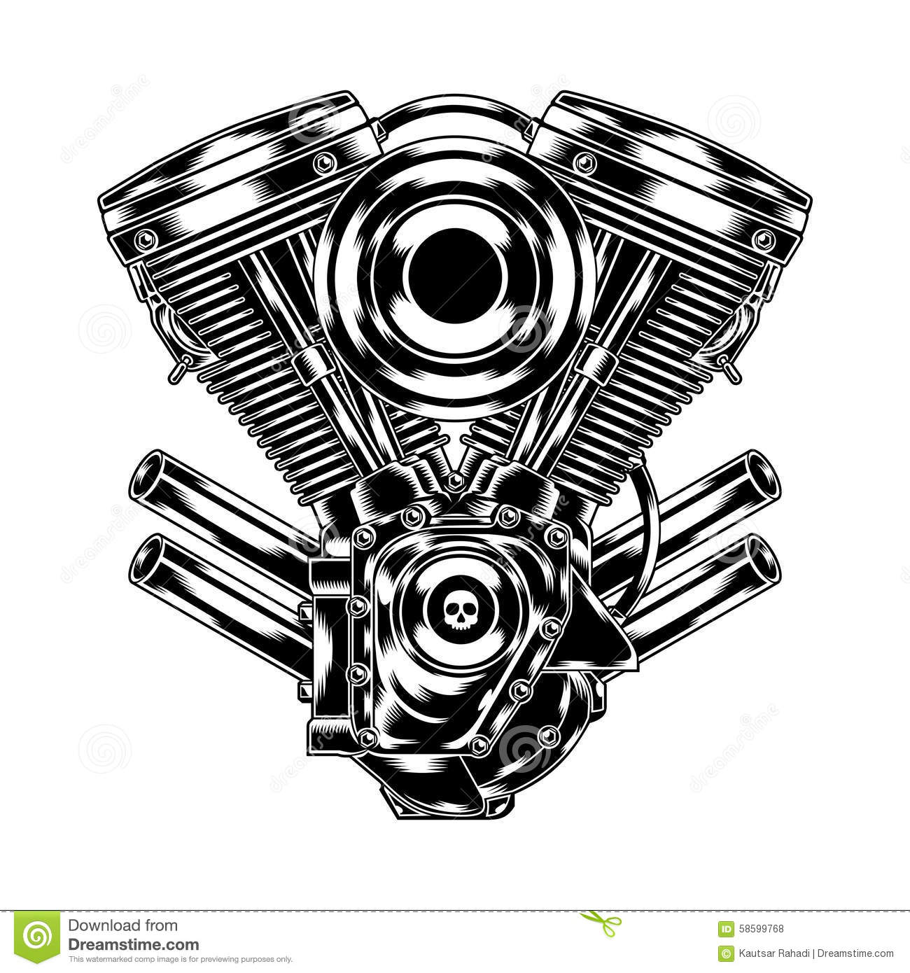 Motorcycle Engine Stock Vector Illustration Of Motorbike