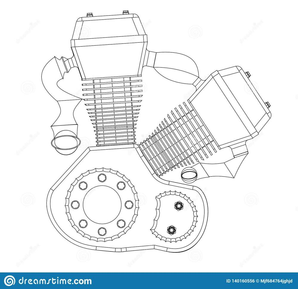 medium resolution of motorcycle engine on a white