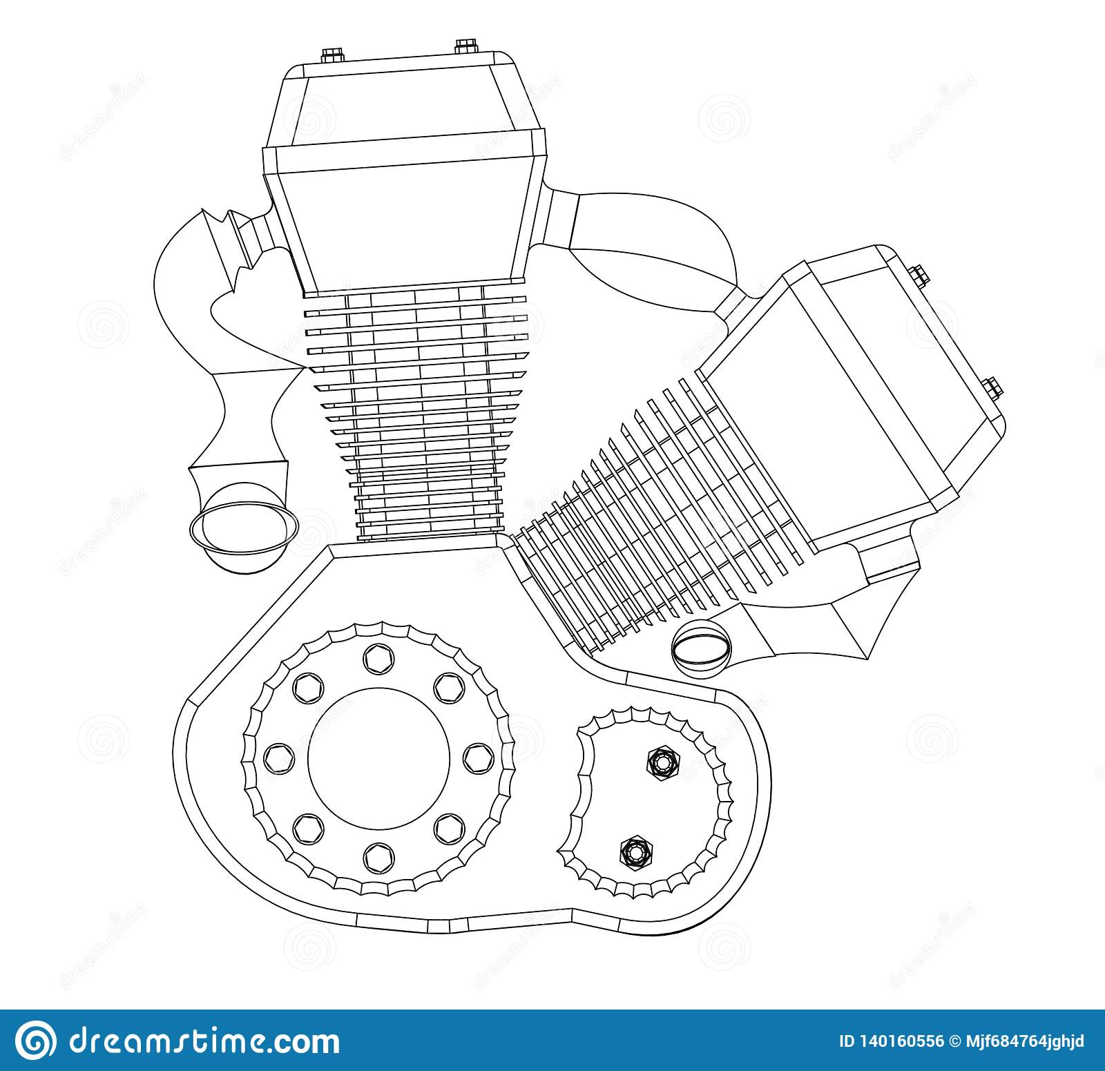 hight resolution of motorcycle engine on a white