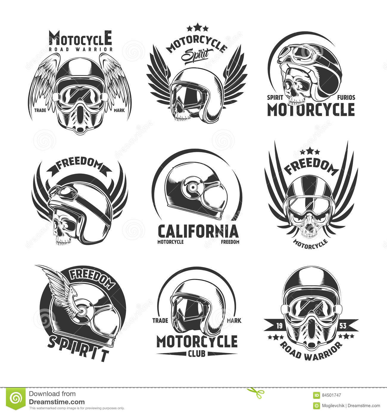 Motorcycle Helmet Design Elements Set Stock Vector