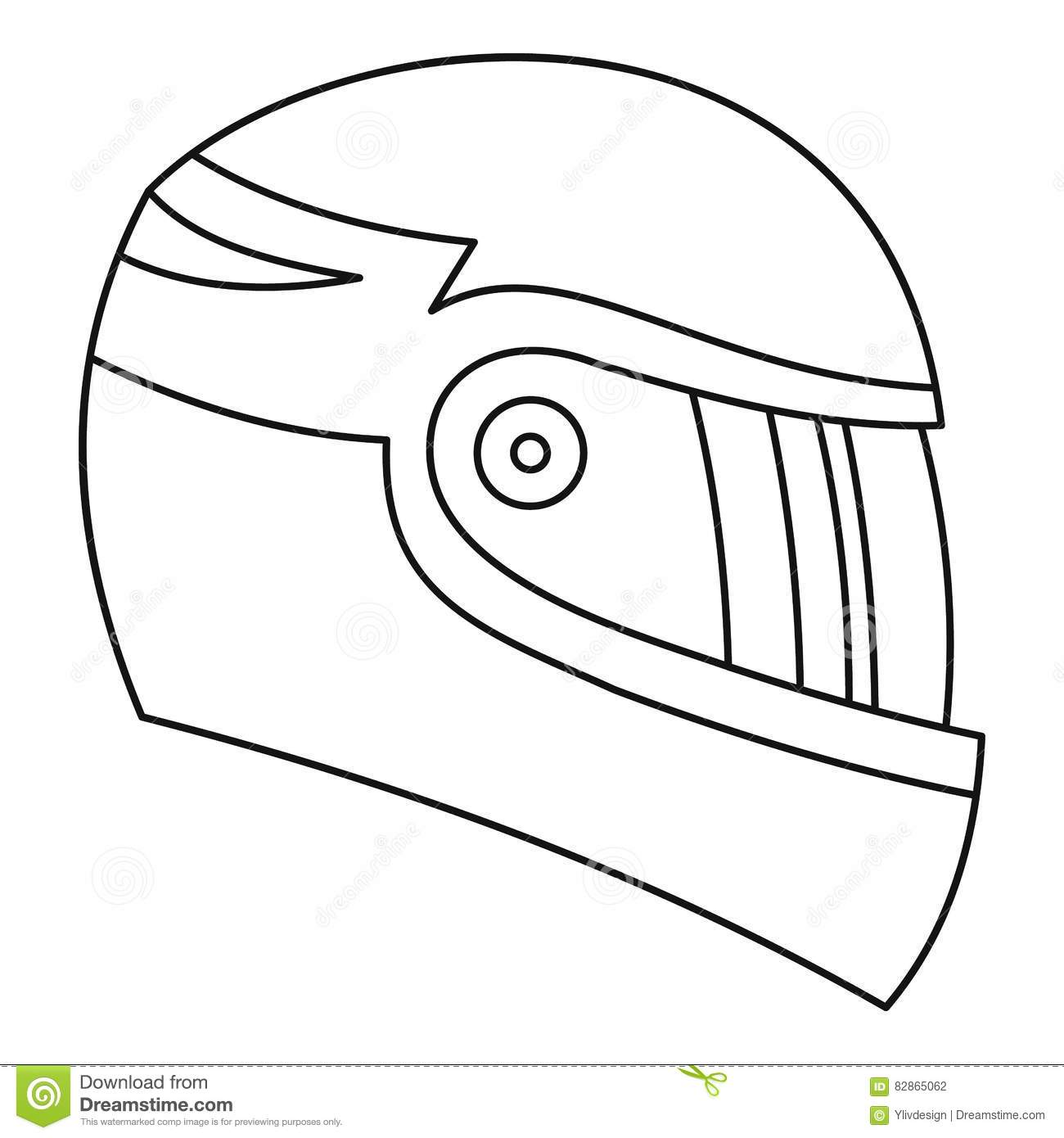 Motorcycle Helmet Icon Outline Style Stock Vector