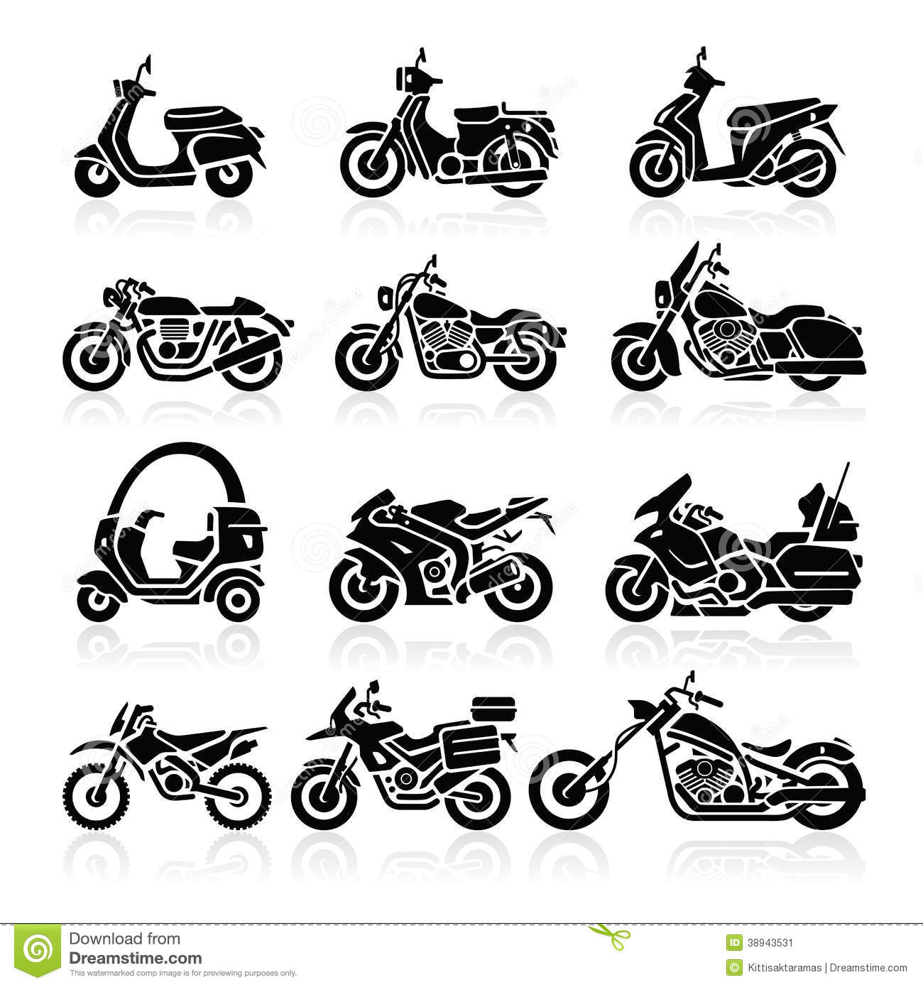 Motorcycle Icons. Vector Illustration. Stock Vector