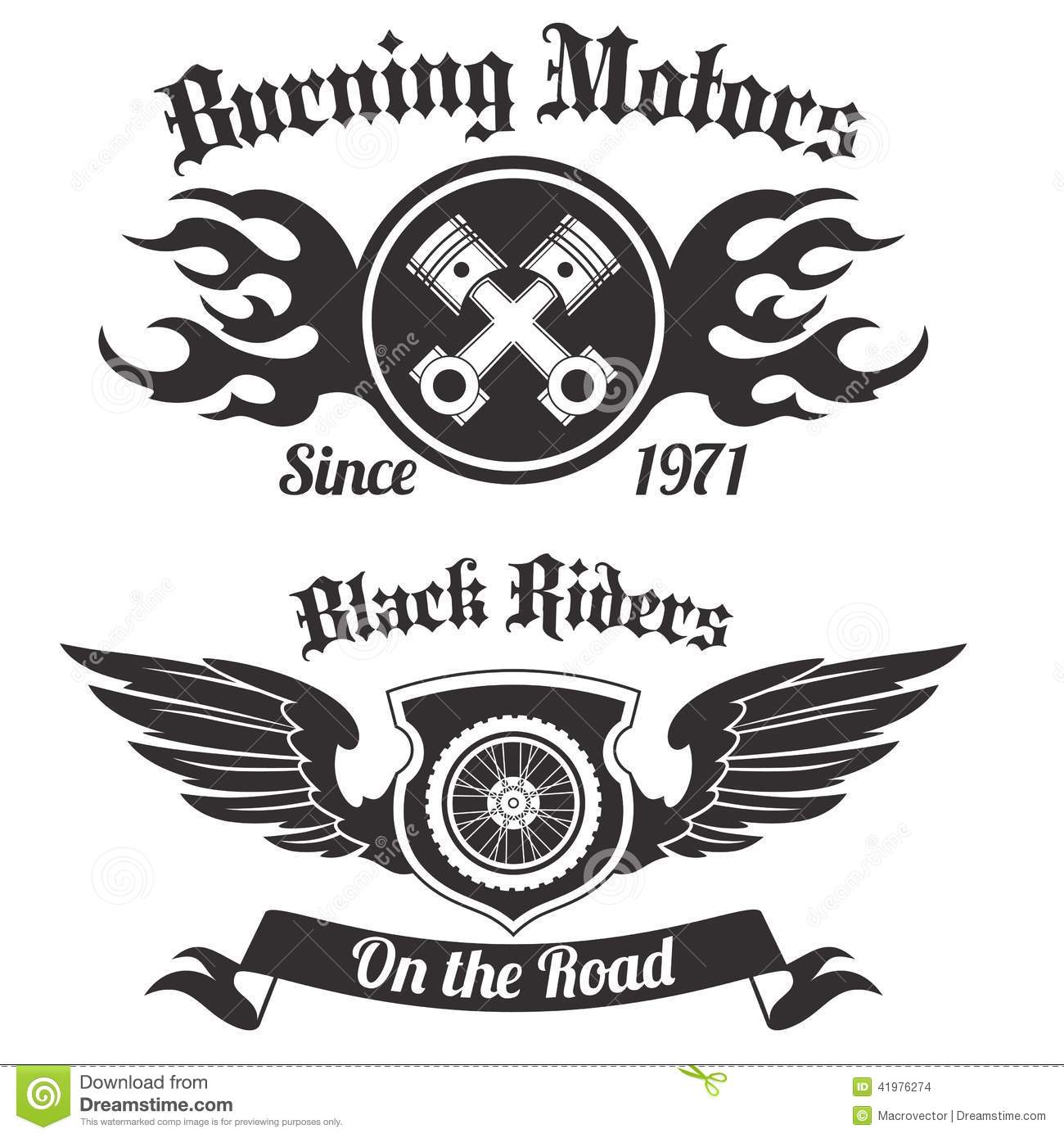 Motorcycle label black stock vector. Illustration of