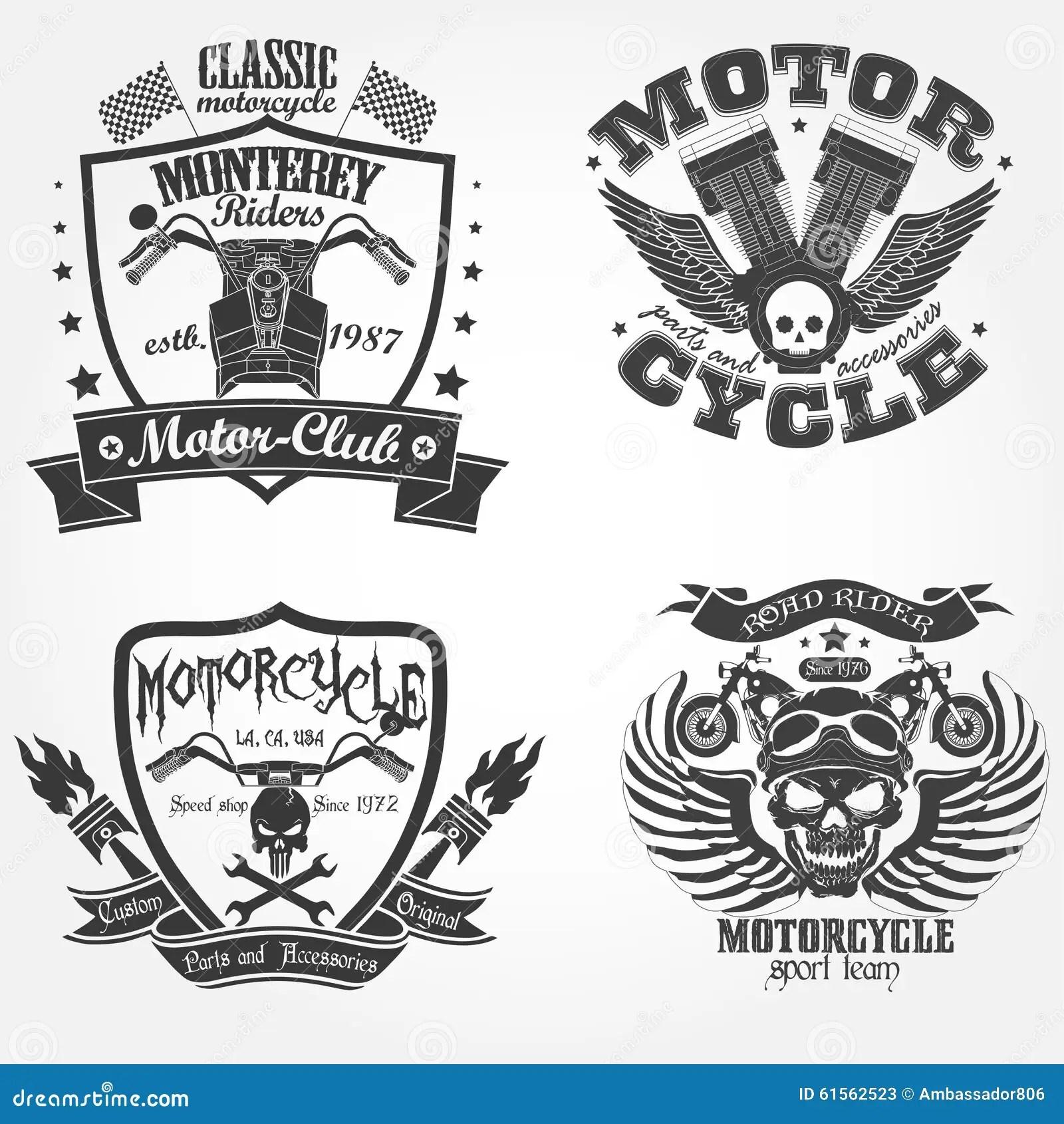 Motorcycle label set stock vector. Illustration of raceway