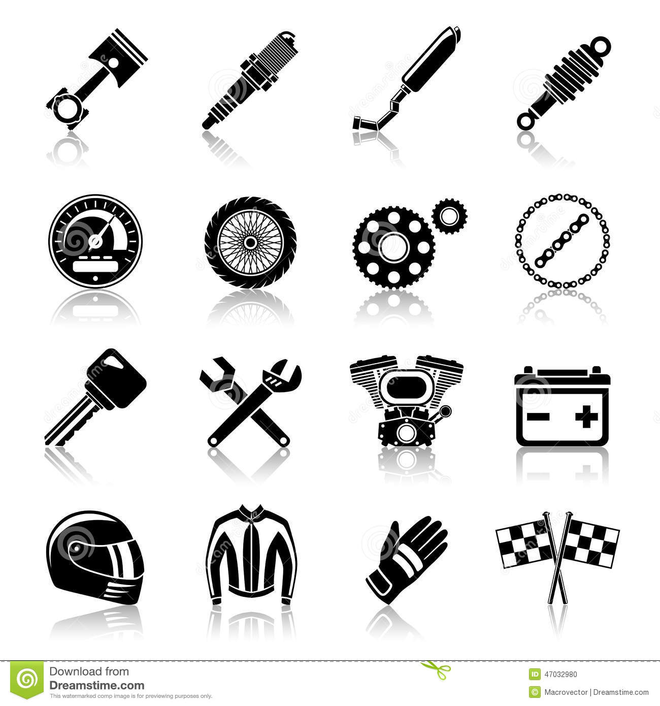 Motorcycle Parts Black Set Stock Vector