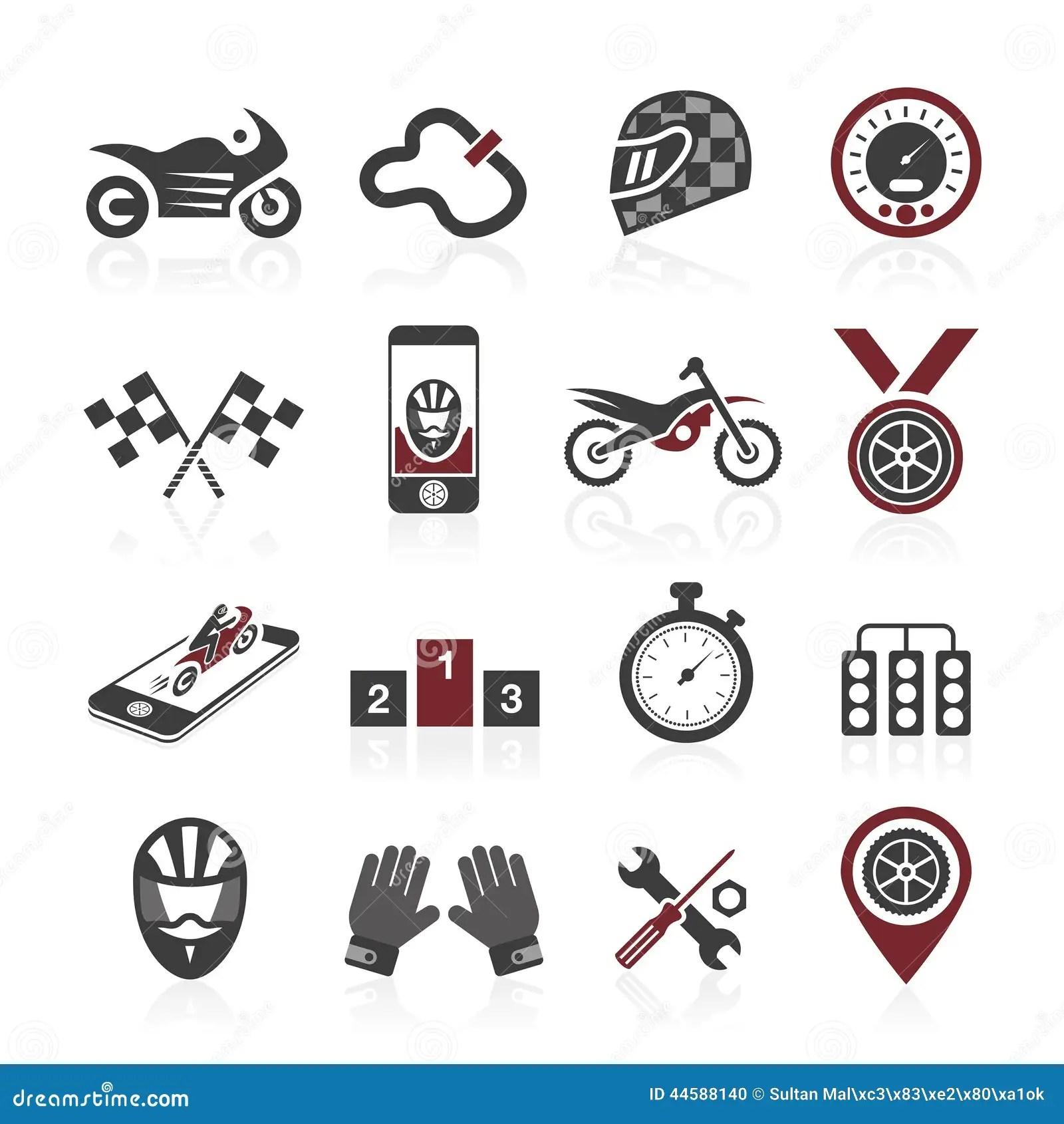 Motorcycle Racing Icon Set