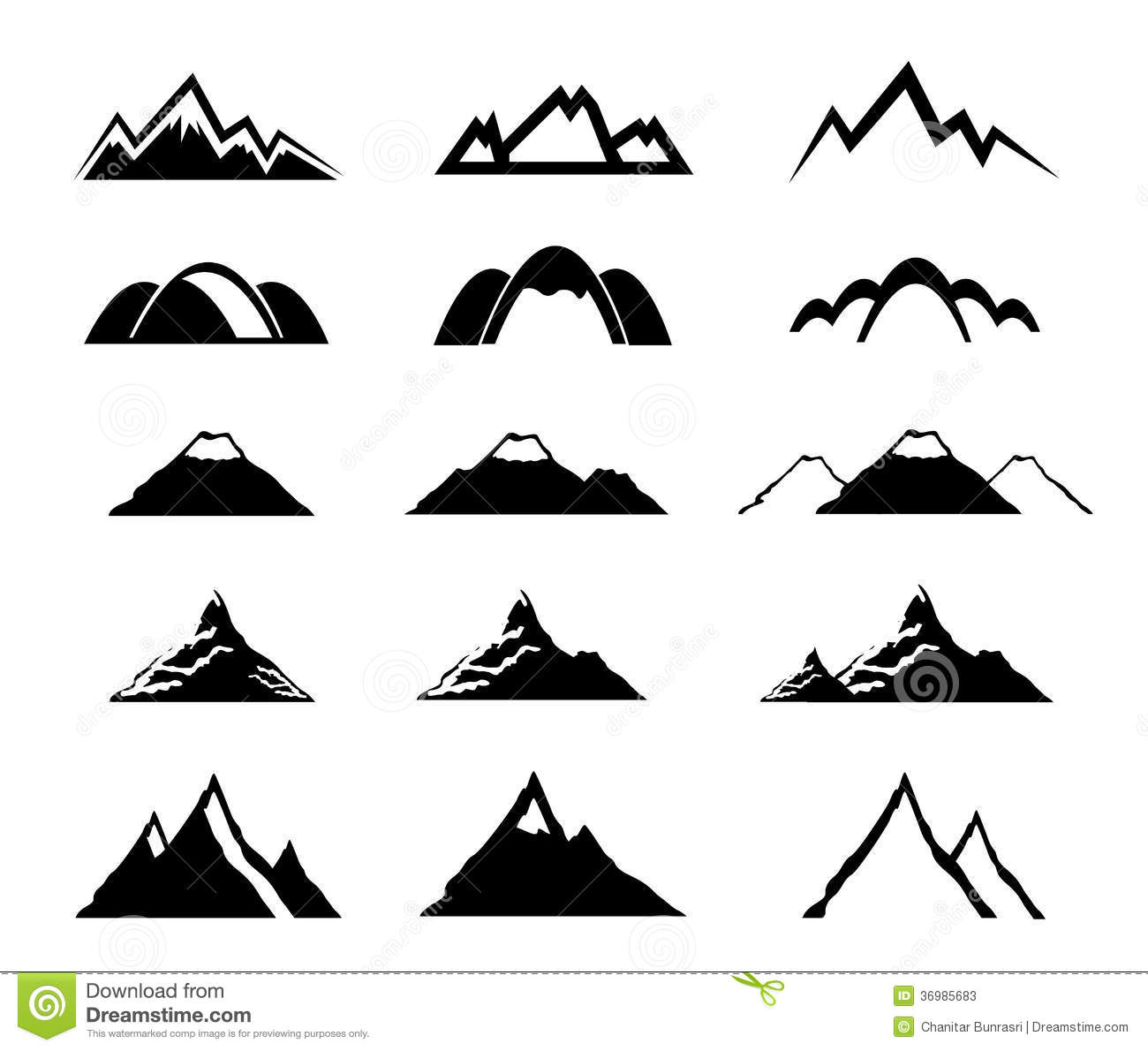 Mountain Icons Set Stock Vector Illustration Of Outdoor