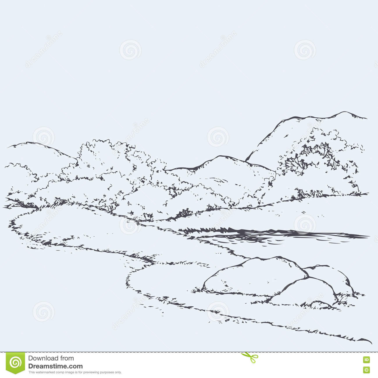 Mountain Landscape With Oak Trees. Vector Drawing Cartoon
