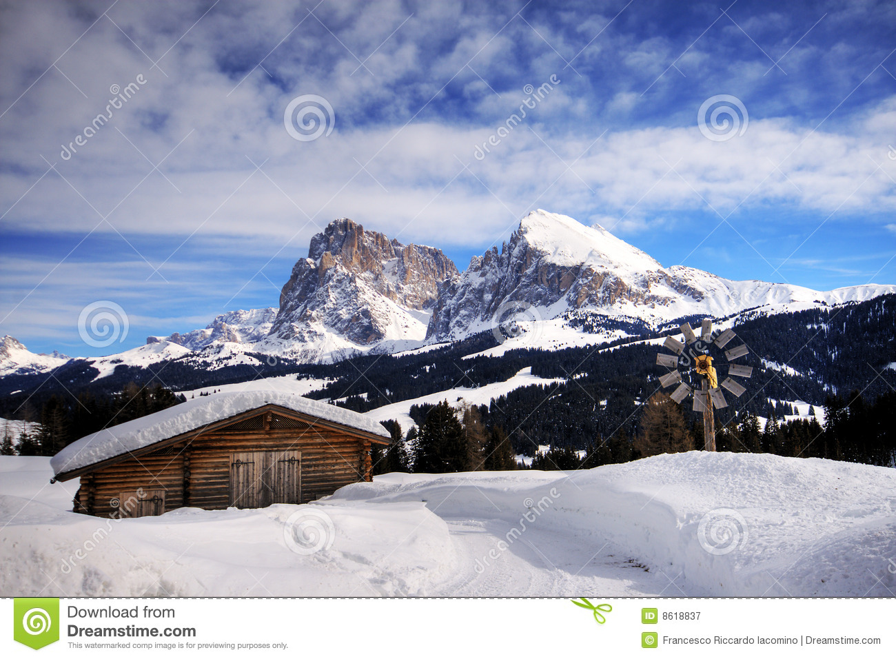 Mountain Landscape Snow Chalet Royalty Free Stock