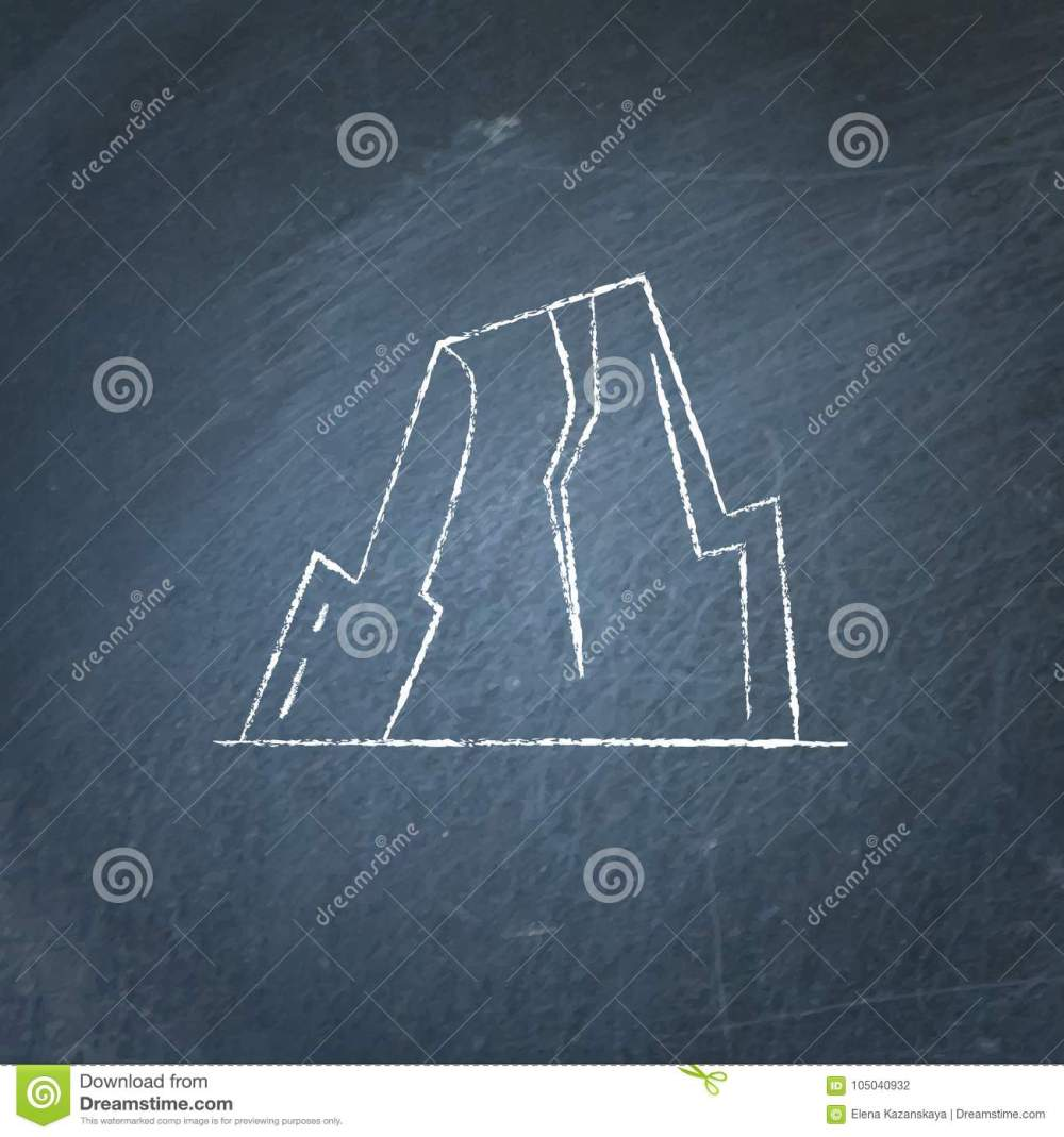 medium resolution of mountain with ledges icon on chalkboard rock with plateau symbol