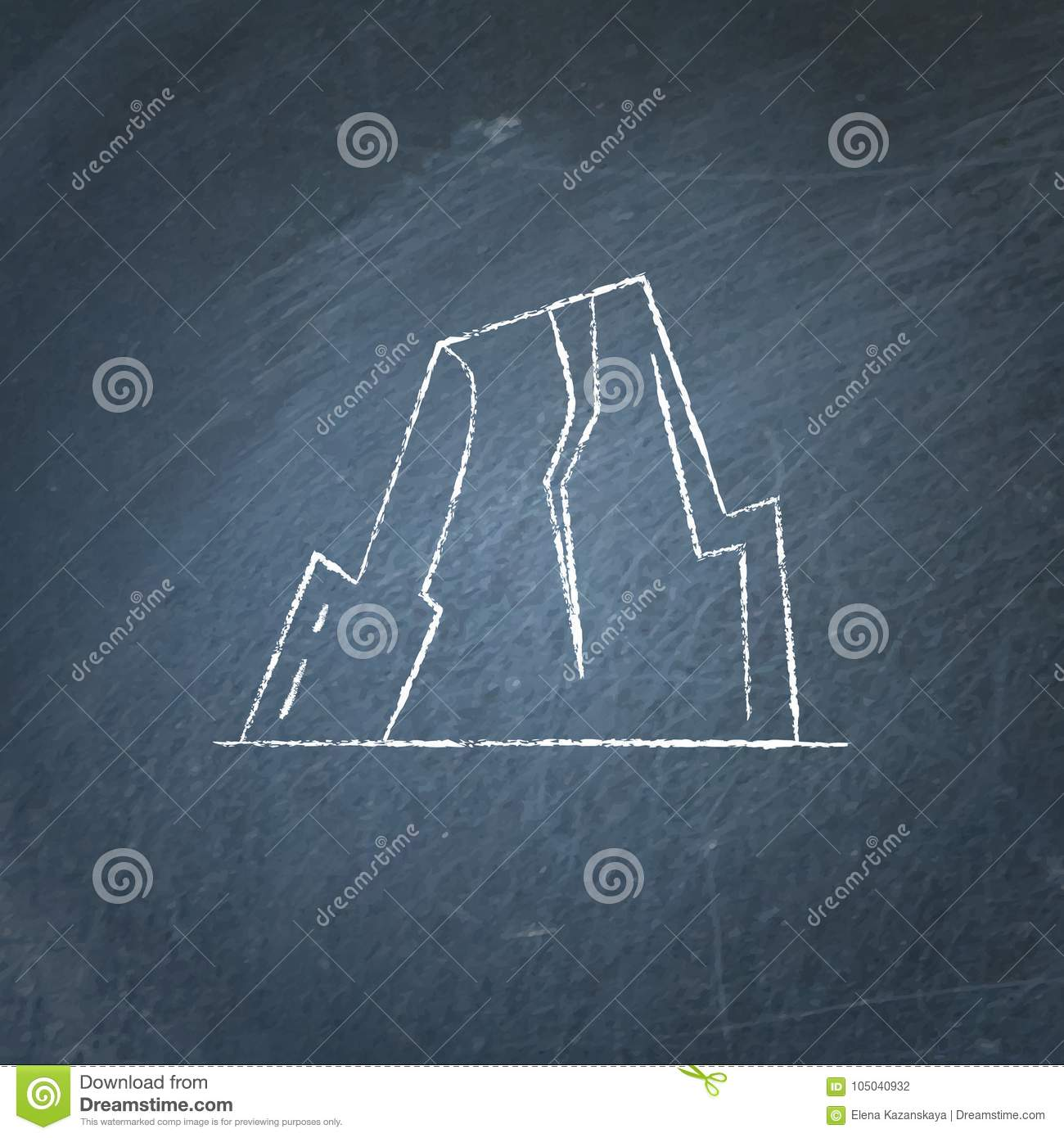 hight resolution of mountain with ledges icon on chalkboard rock with plateau symbol