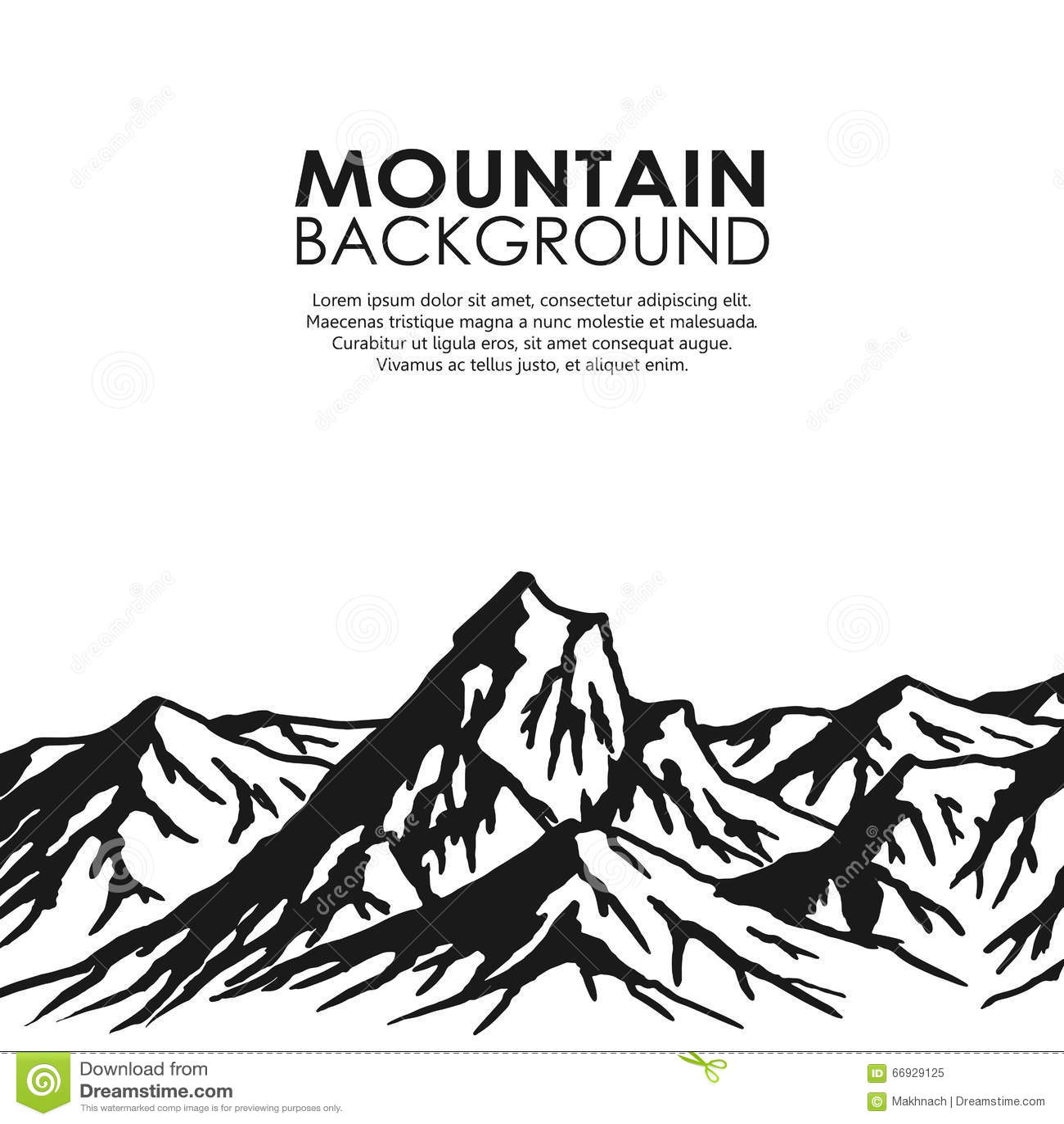 Mountain Range Isolated On White Background Cartoon Vector
