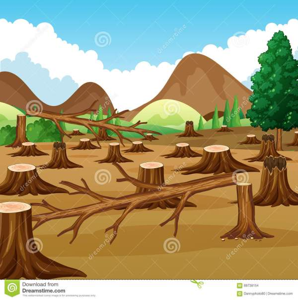 Mountain Scene With Deforestation View Stock Vector