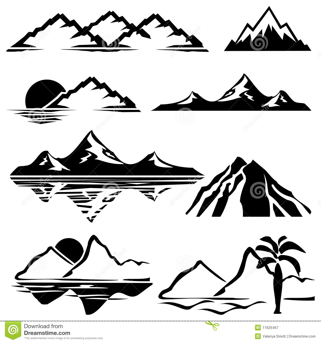 Mountains stock vector. Illustration of black, volcano