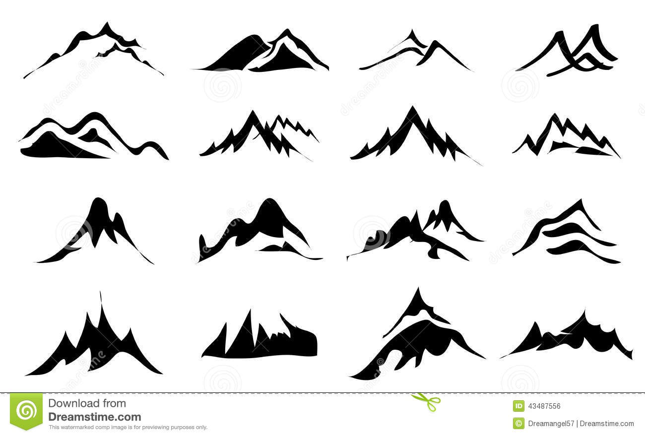 Mountains Icons Set Stock Vector
