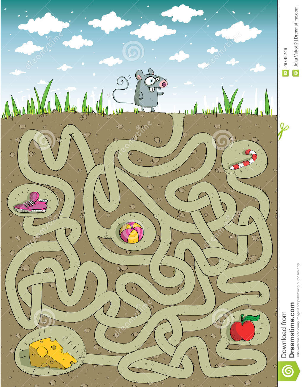 Mouse And Cheese Maze Game Stock Vector Illustration Of