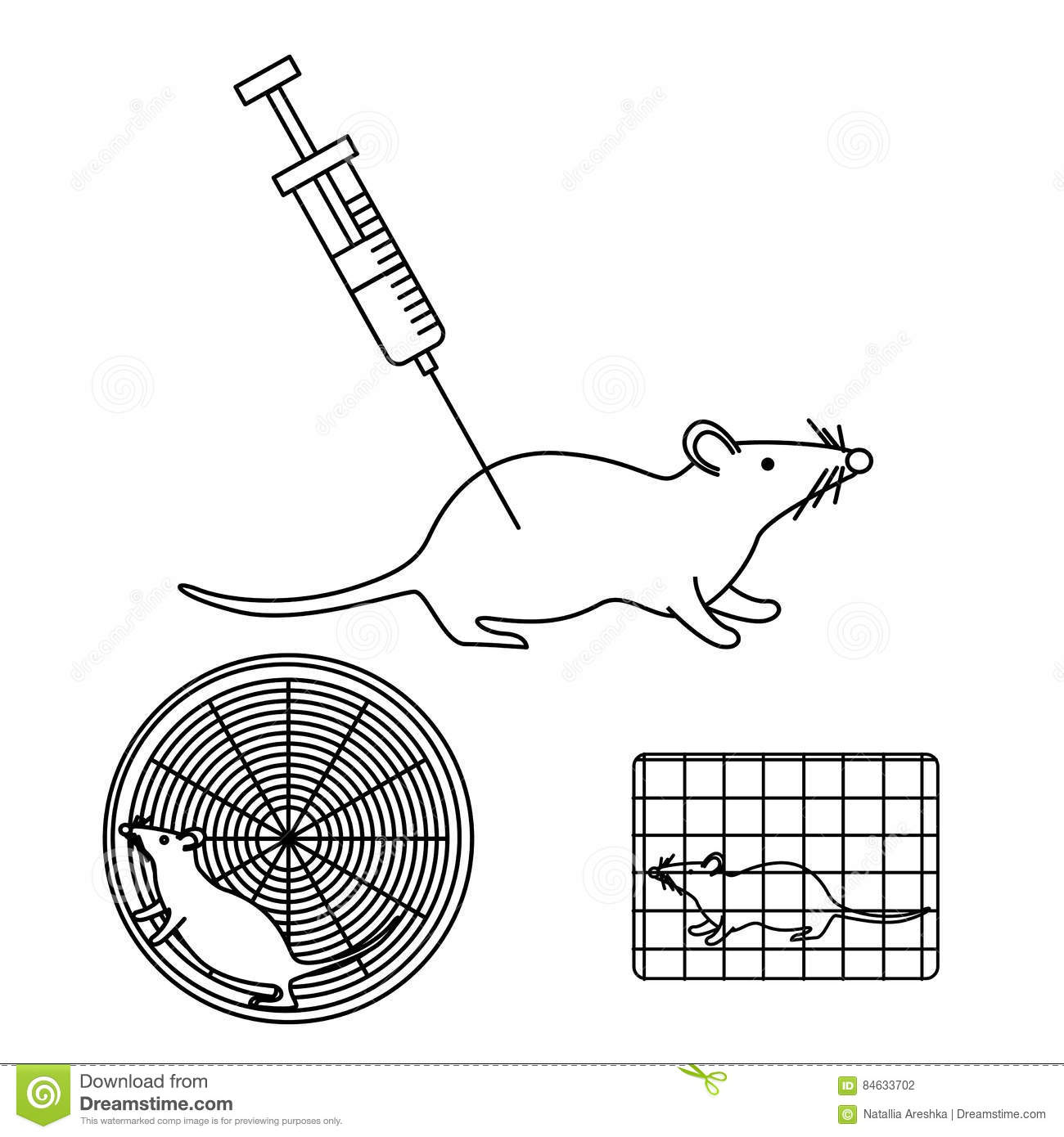 Mouse In Lab Experiments Stock Vector