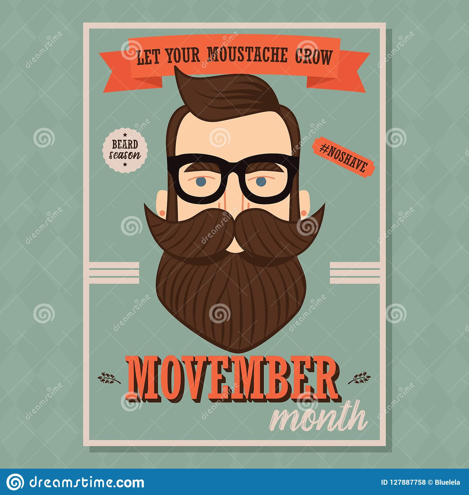 Movember Poster Design. Prostate Cancer Awareness. Hipster Man With Beard And Moustache Stock Vector - Illustration of background. movember: 127887758