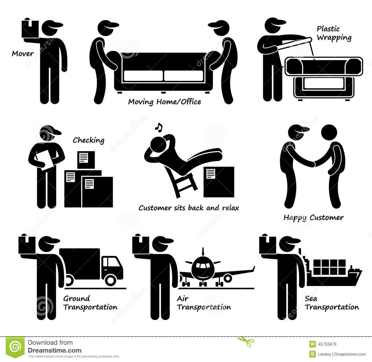 hight resolution of mover services moving house office goods logistic cliparts icons