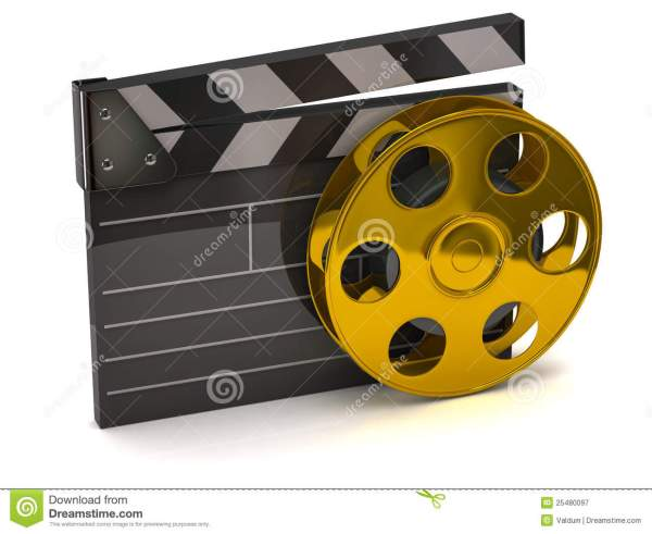 Golden Roll Of Negative Film Royalty-free Stock