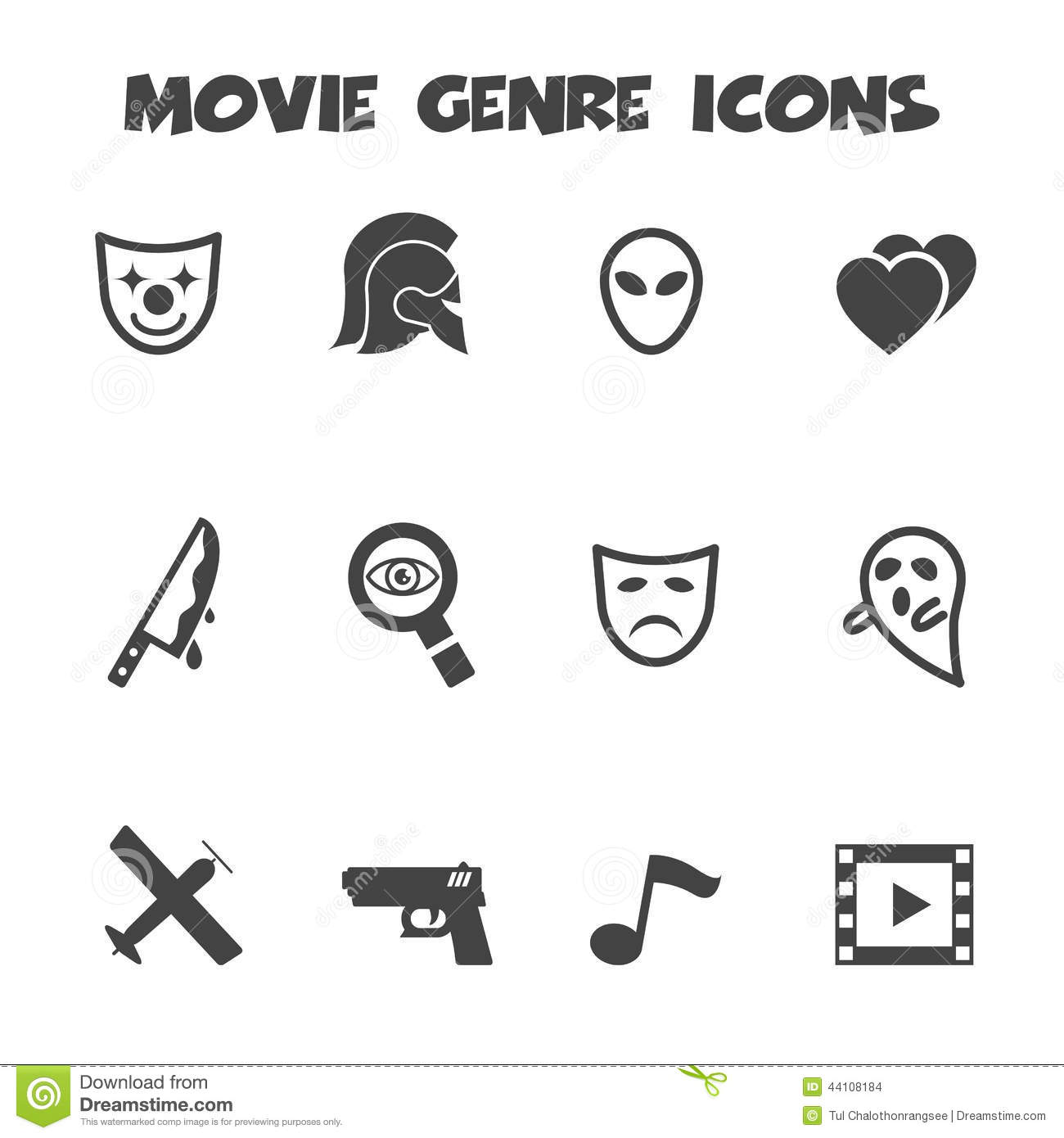Movie Genre Icons Stock Vector Illustration Of Black