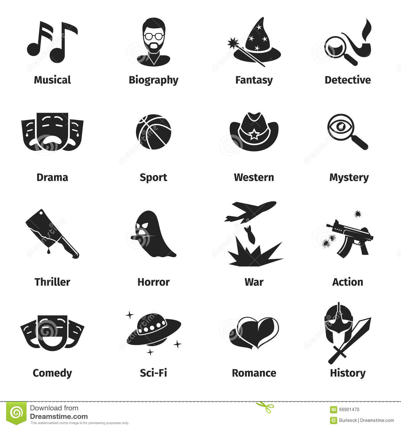 Movie Genres Vector Icons Stock Vector Illustration Of