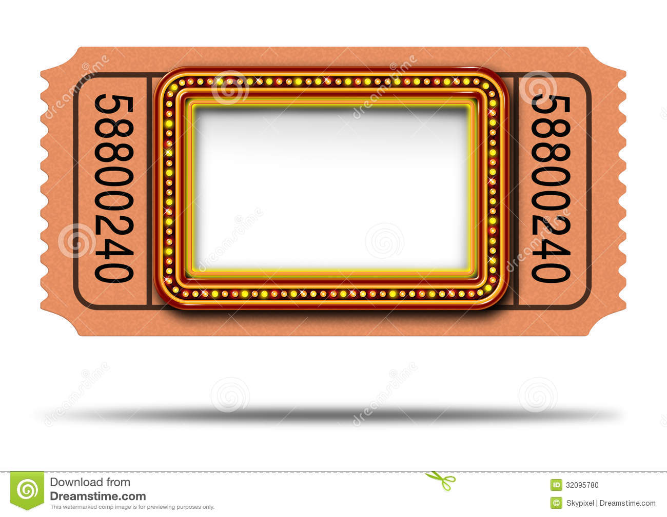hight resolution of movie marquee ticket with blank copy space as a hollywood theater and cinema concept with a glowing group of lights on a sign frame as a billboard icon for