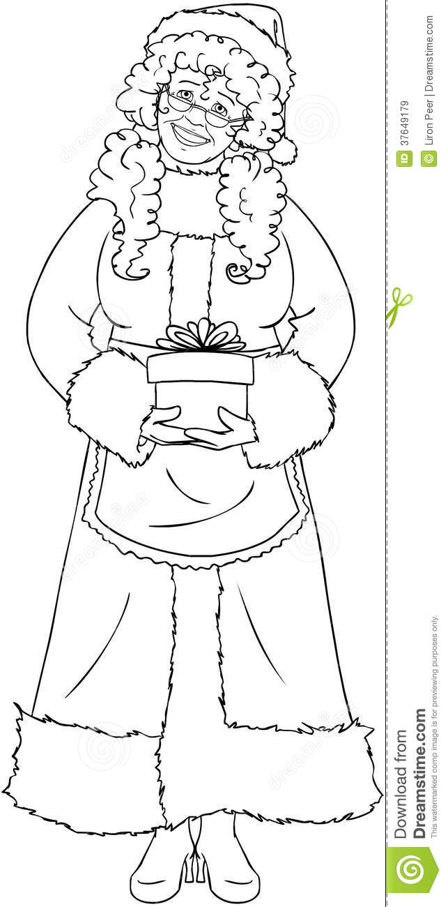 Mrs Santa Claus Holding A Present Coloring Page Royalty