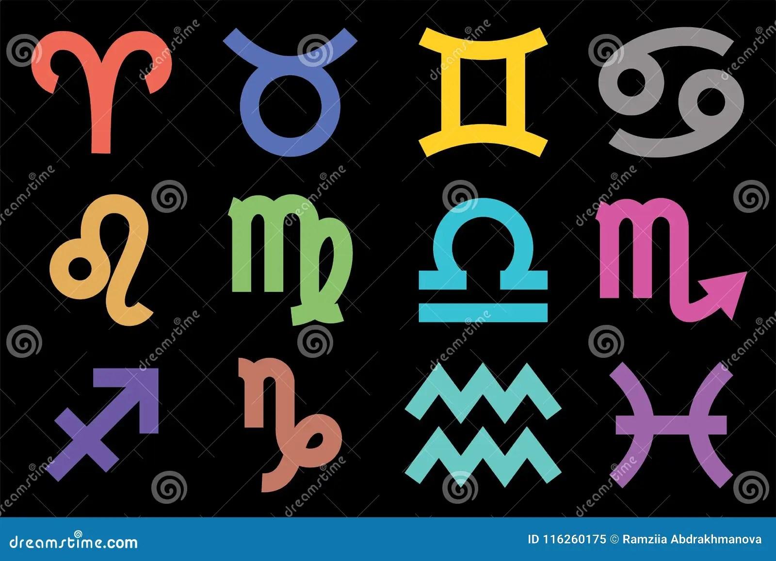 Muestras Del Zodiaco Horóscopo Colorido Del Vector Acuario