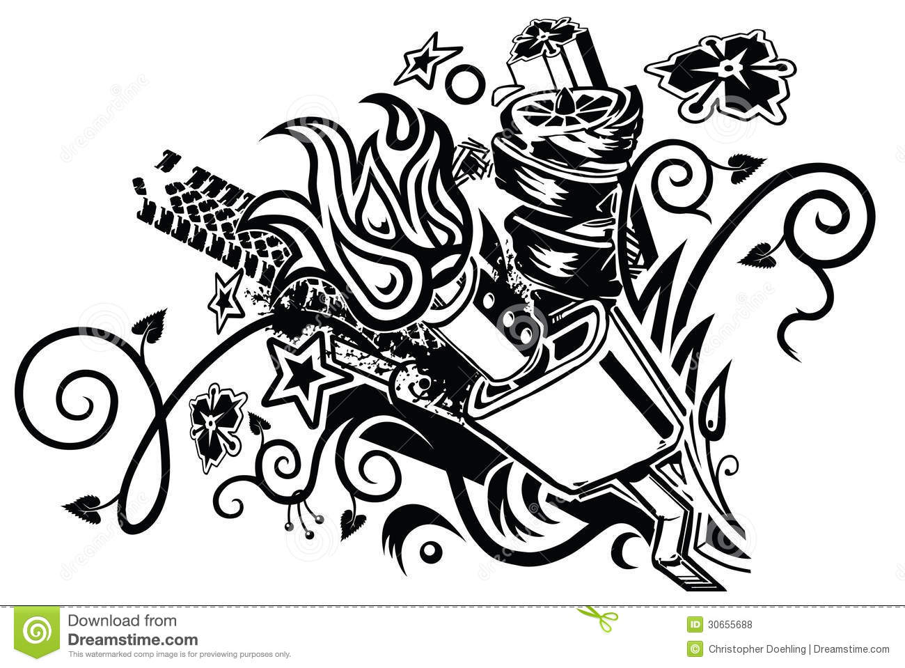 Muffler Explosion Tattoo Stock Vector Illustration Of