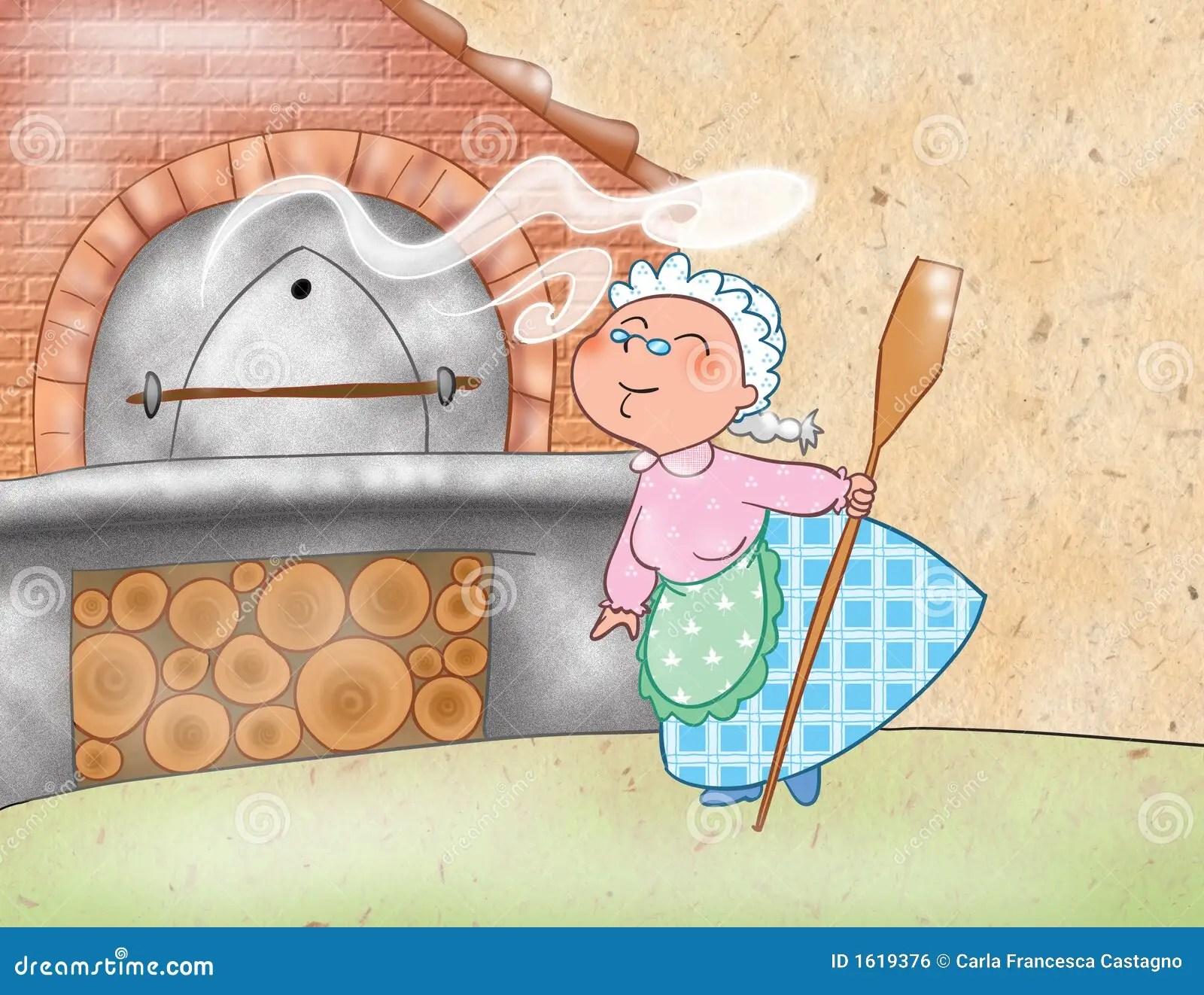 Mujer Que Cocina Con Un Horno Maderaardiendo Stock de ilustracin  Ilustracin de sabroso ilustracin 1619376