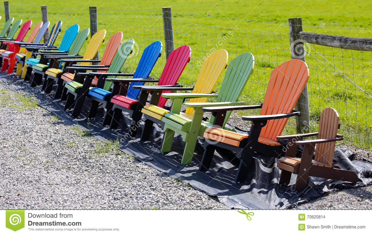 Colored Adirondack Chairs Multi Colored Adirondack Chairs Editorial Stock Image