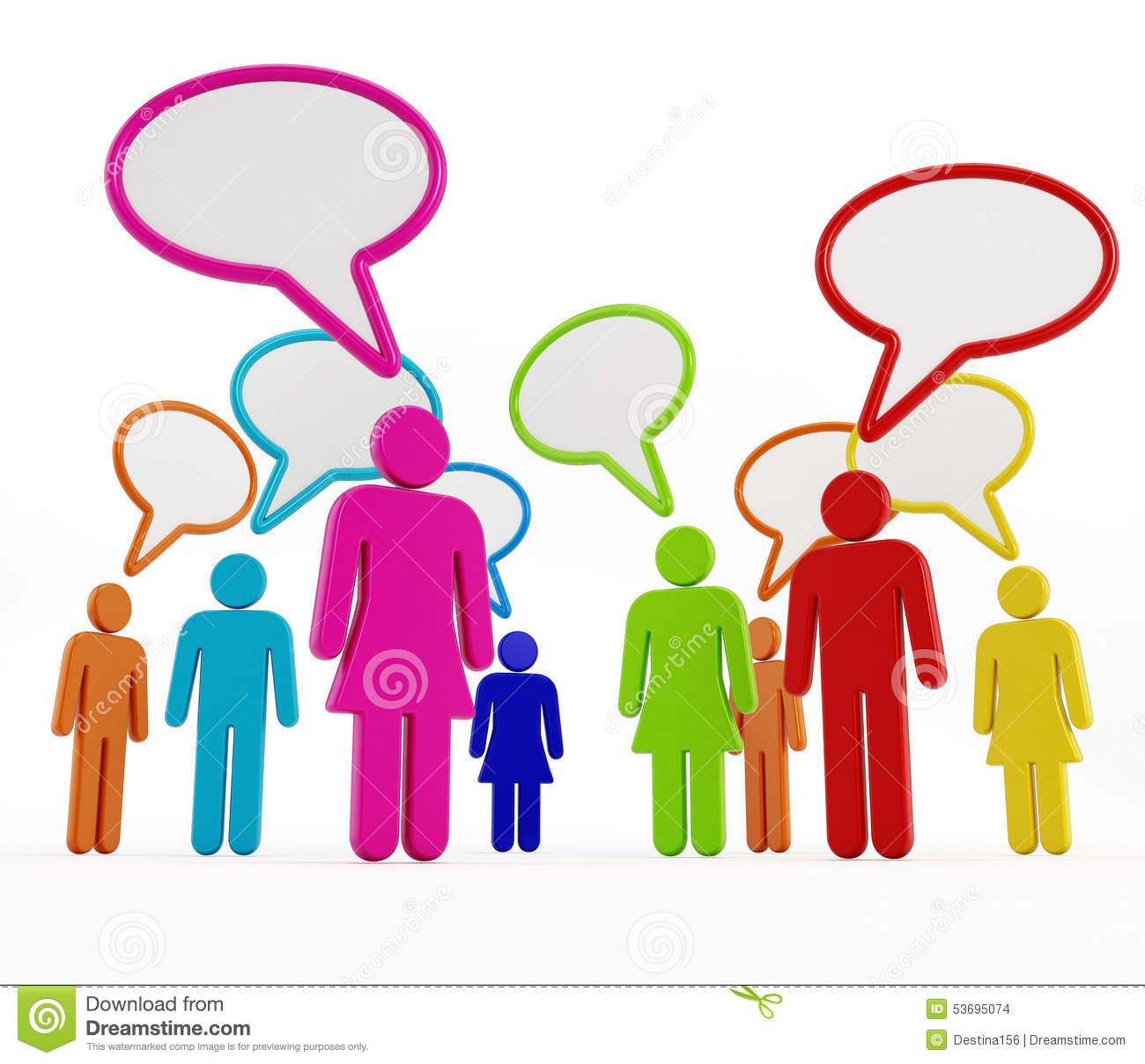 Multi Colored People With Speech Balloons Stock Illustration