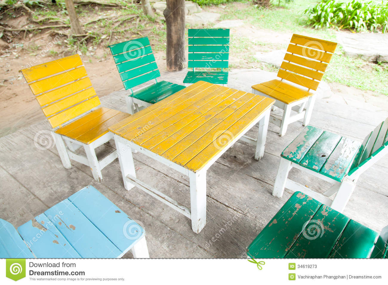 Colorful Wooden Chairs Multi Colored Wooden Table And Chairs Stock Photos