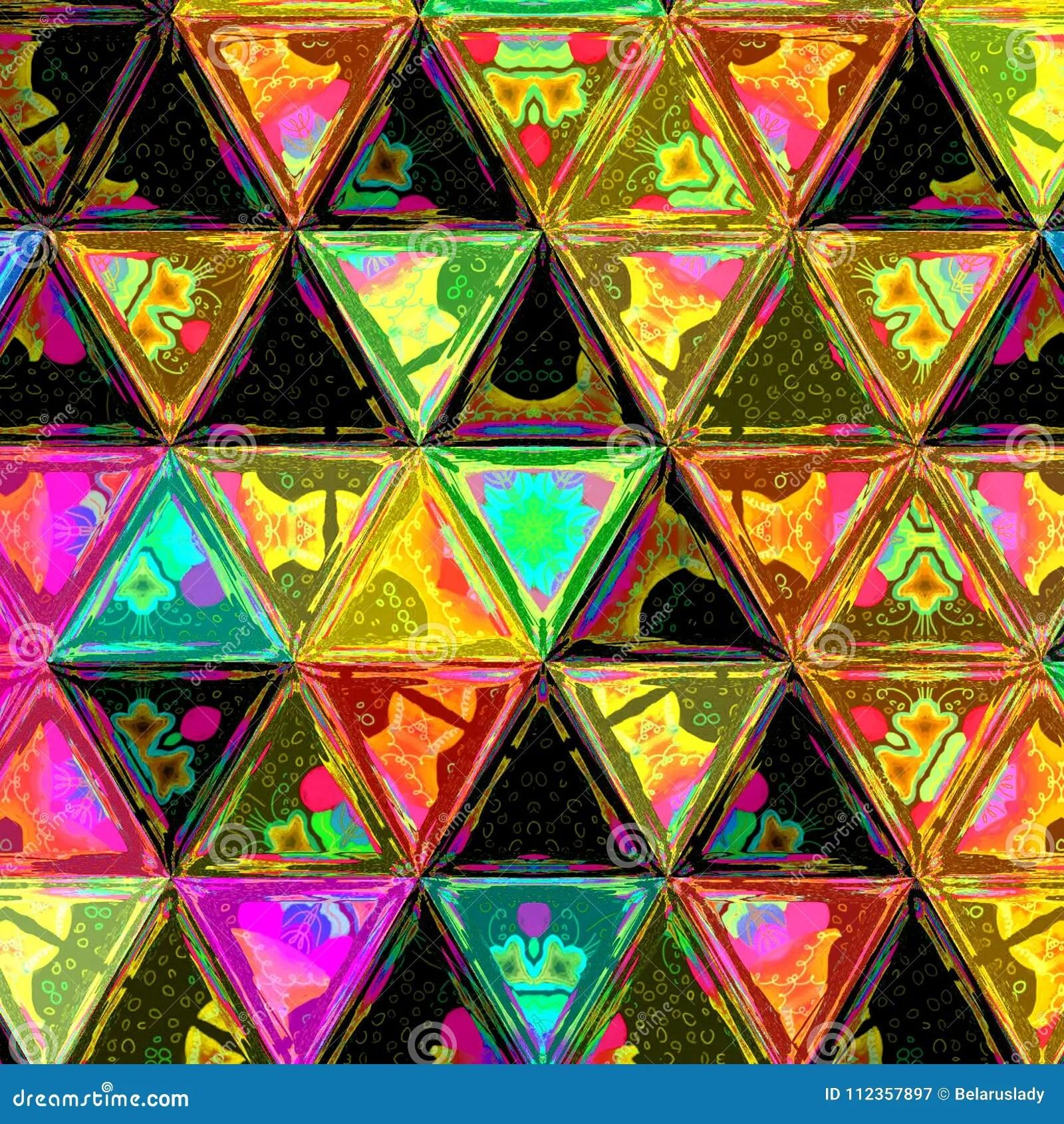 Multicolor Gra Nt Triangle Square Tiles Geometric