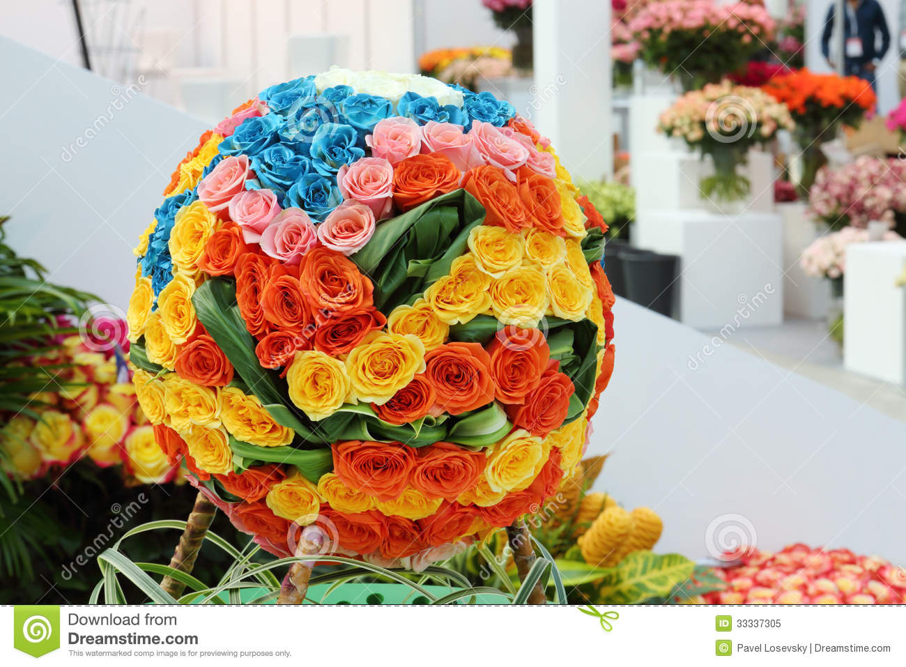 Multicolored Ball Shaped Bouquet Of Roses In Hall Royalty