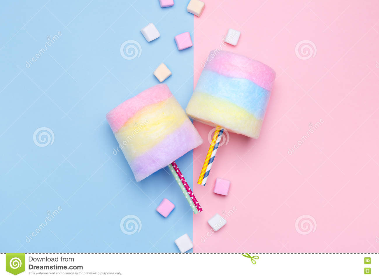 hight resolution of multicolored cotton candy pastel marshmallows minimal style pastel background