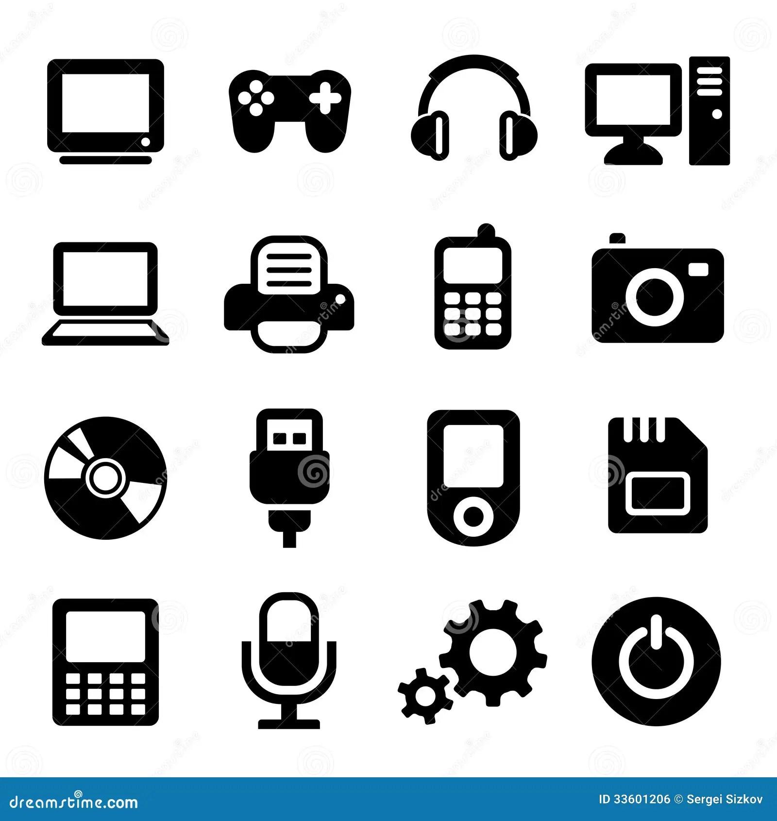 Multimedia Gadget Icons Set Stock Vector