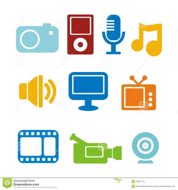 Multimedia Icons Stock Vector. Illustration Of