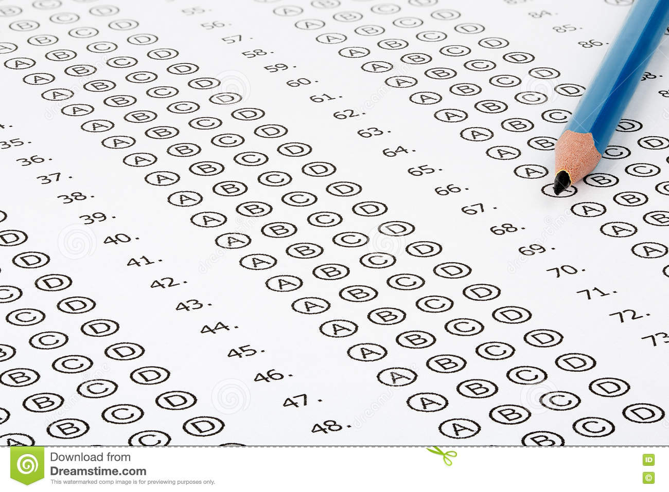Multiple choice test stock photo. Image of college