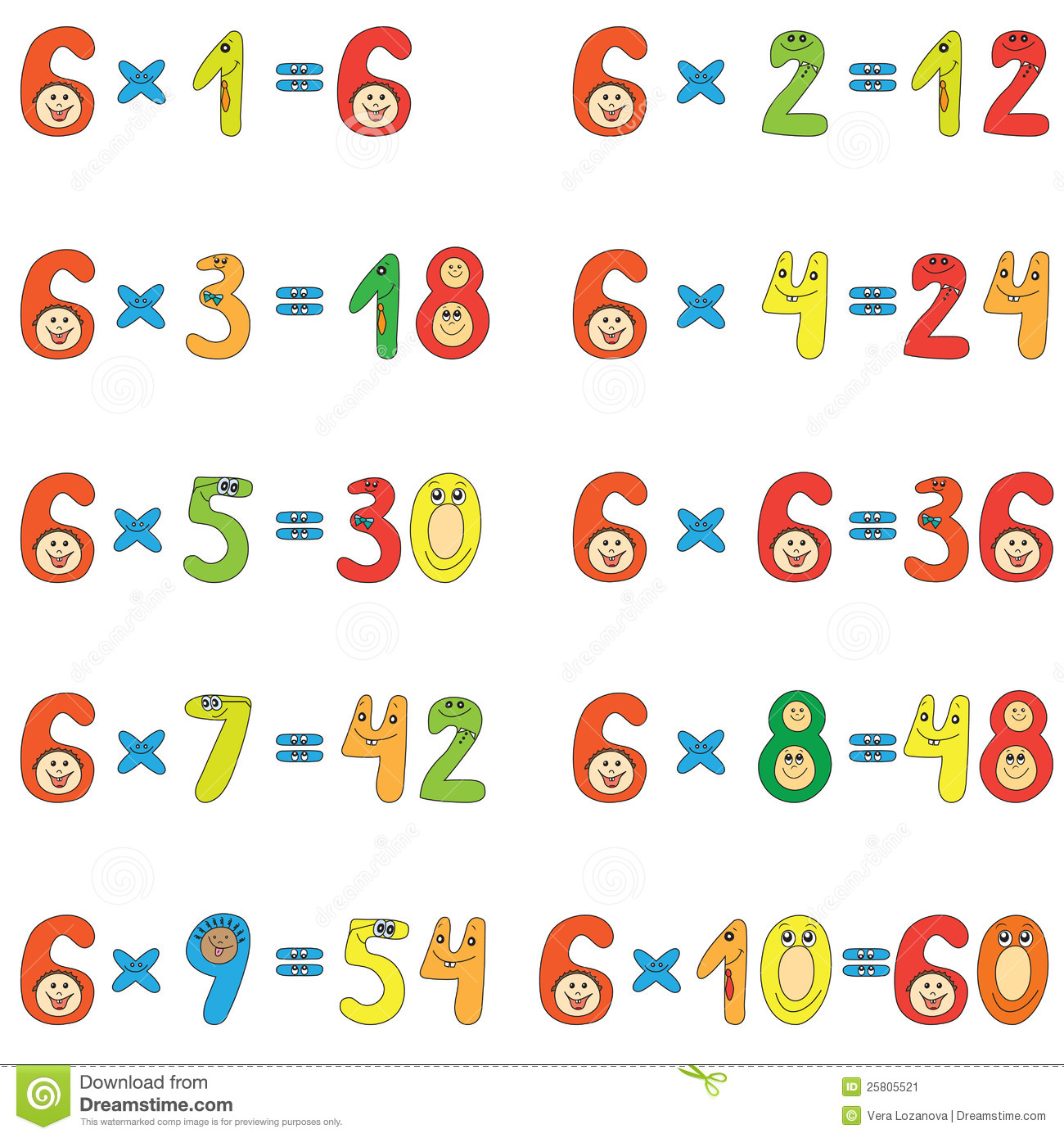 Multiplication Table Of 6 Stock Vector Illustration Of