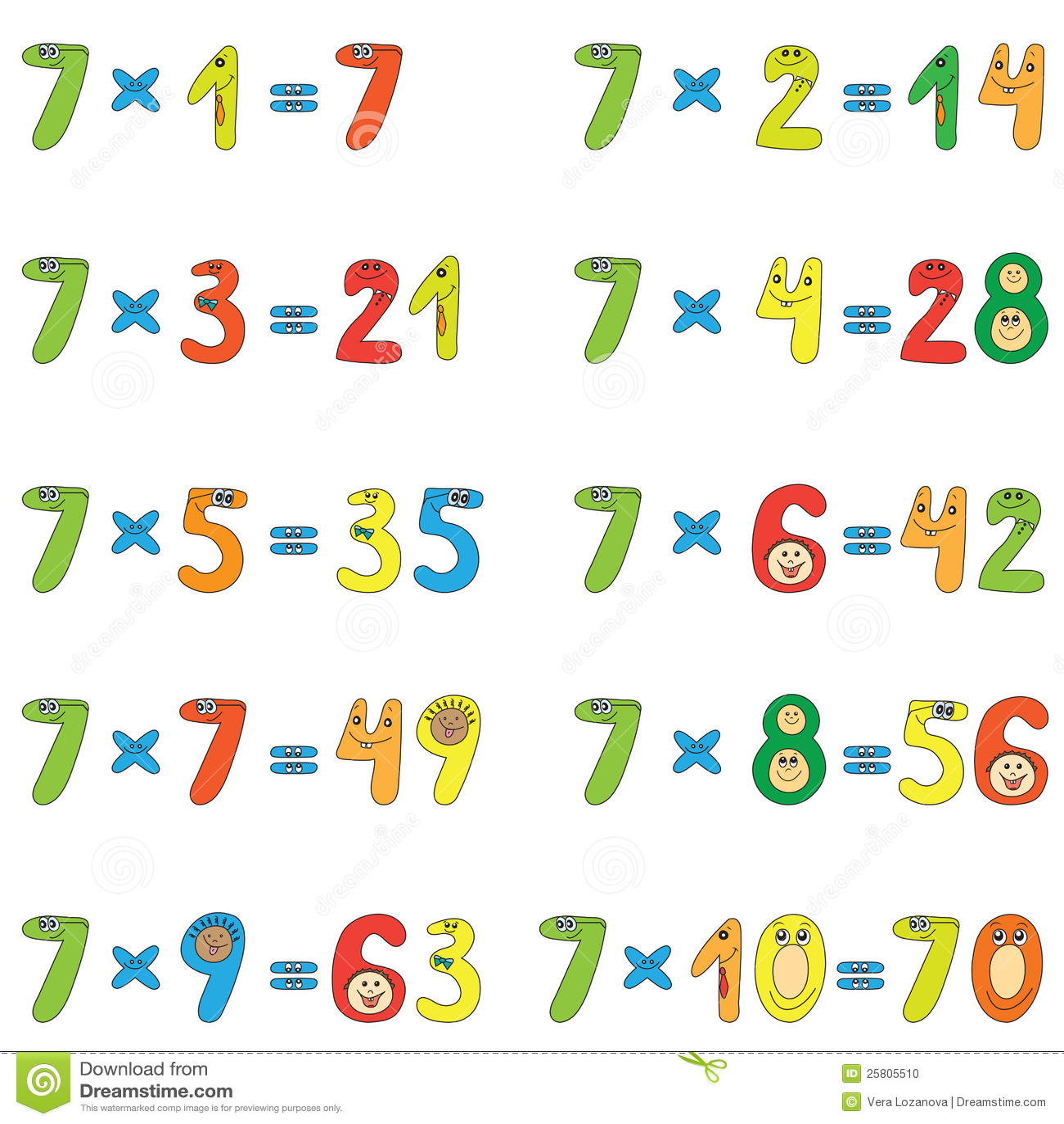 Multiplication Table Of 7 Stock Vector Illustration Of School