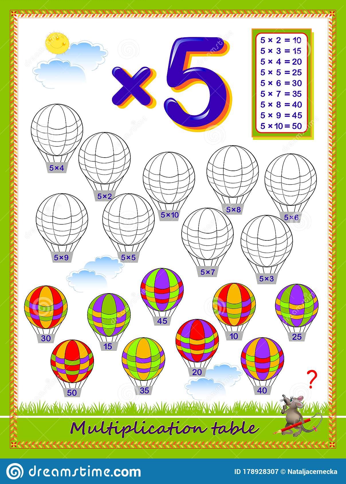 Multiplication Table By 5 For Kids Solve Examples And