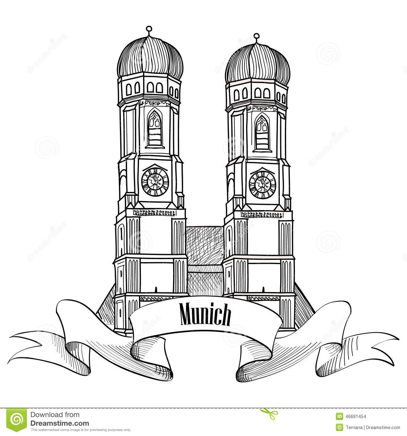 Munich City Label Munich Cathedral Building Sketch Stock