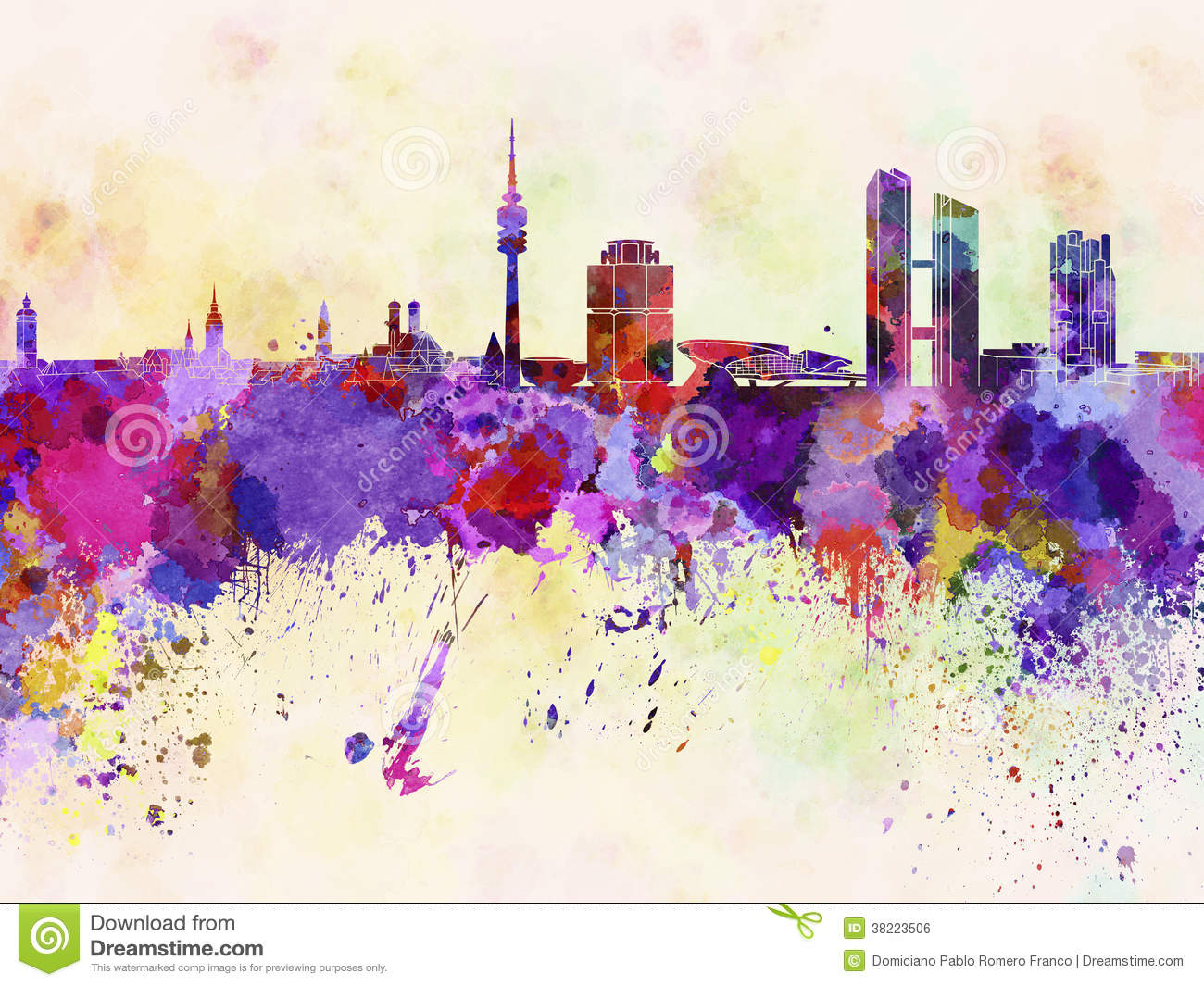 Munich Skyline In Watercolor Background Stock Illustration