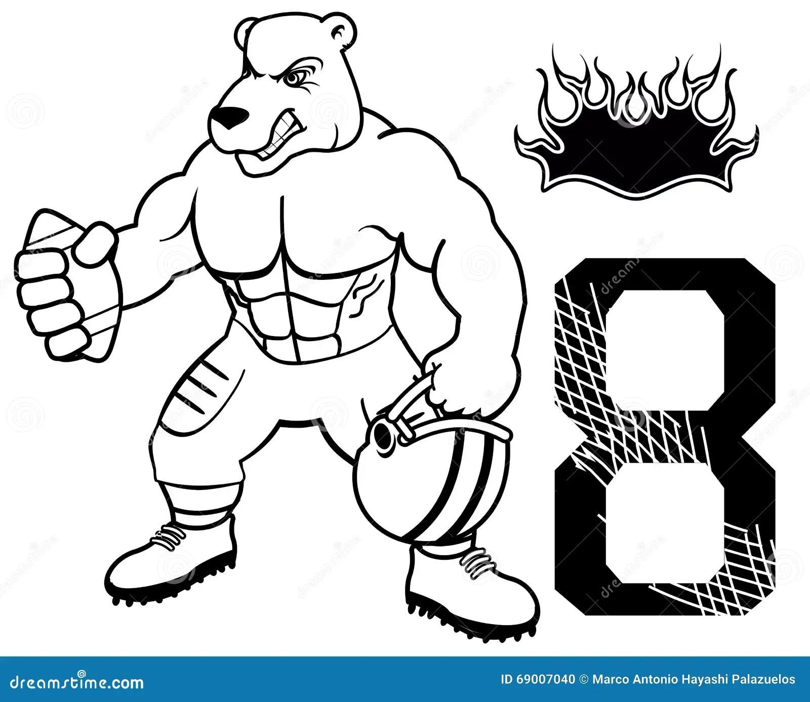 Muscle Bear American Football Uniform Stock Vector