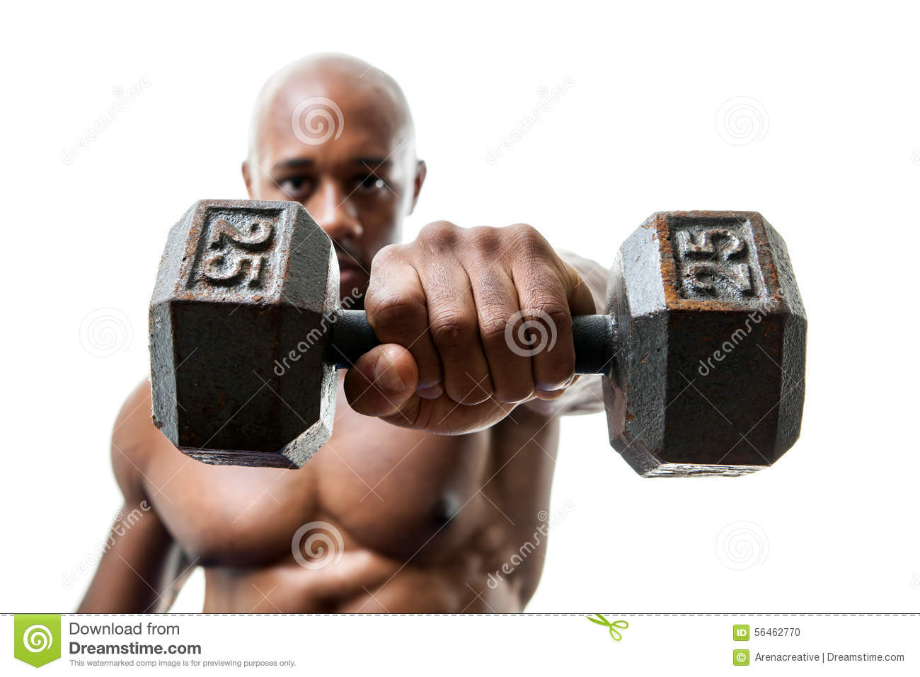 Muscle Man Holding Dumbell Stock Photo Image Of Isolated 56462770