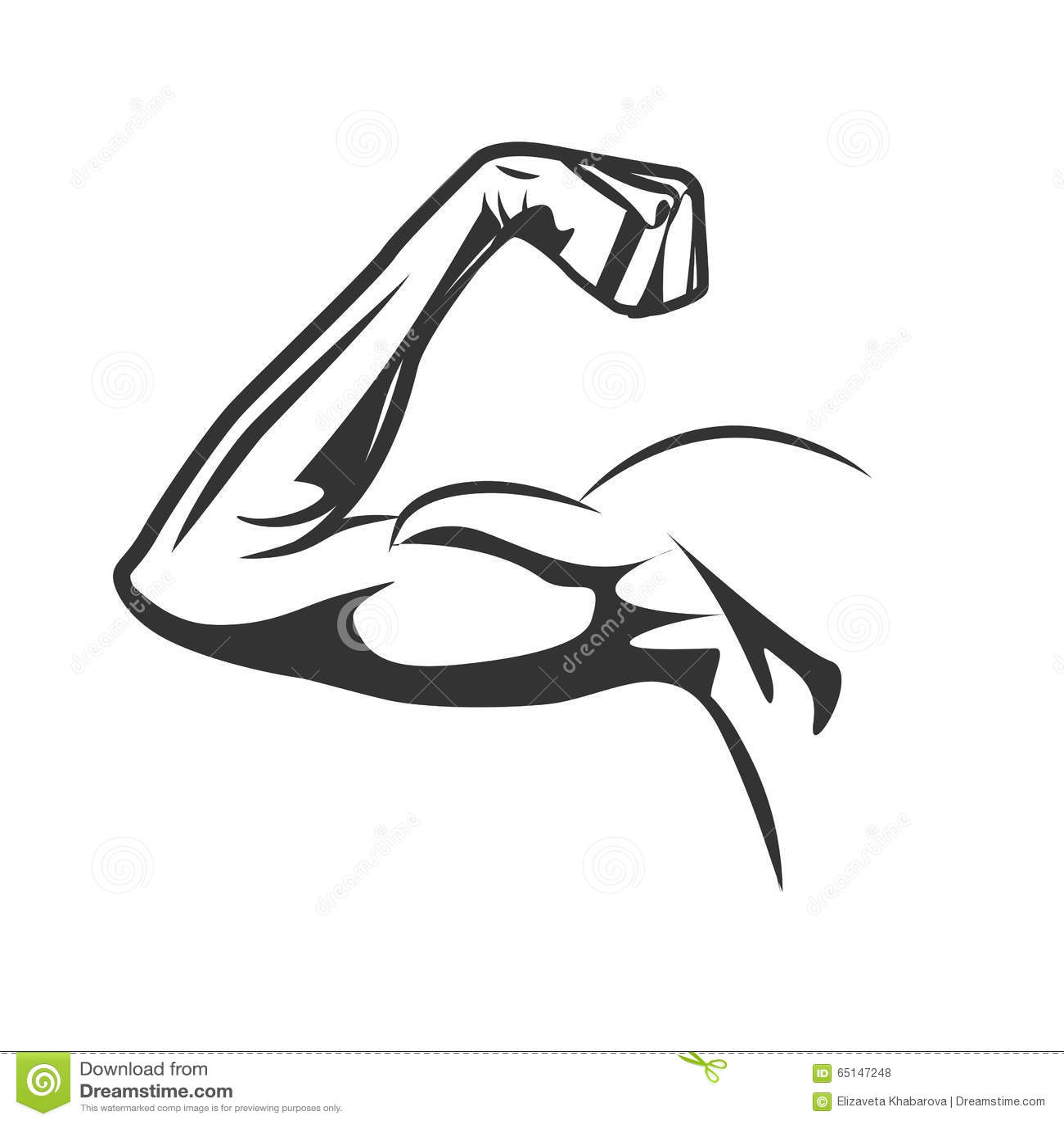 Muscular Arm Flexing Bicep Vector Illustration Stock